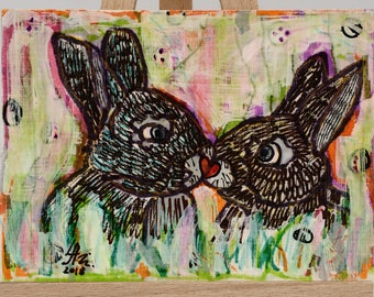 "ACEO Original PAINTING Miniature Acrylic Abstract Art ""Rabbits romance"""