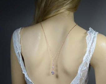Bridal Necklace Back Necklace  Backdrop Necklace  Back Chain Wedding Jewelry prom jewelry