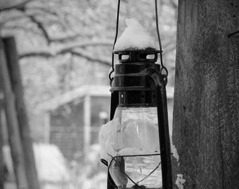 Snow Capped Lantern Print