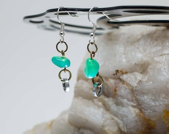 Bicycle Chain Stone Earrings (Turquoise or Green Crystal)