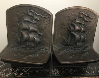 Pair of Antique bronze ship bookends Circa 1924