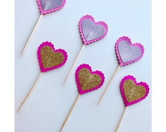 Valentine's Day Cupcake Toppers   Heart Shaped Party Decorations   Glitter Hearts   Metallic Hearts