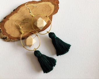Green Tassel Earrings with Bead