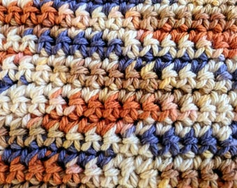 Orange and Brown Variegated 100% Cotton Dishcloth