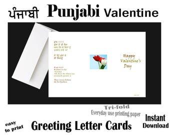 PUNJABI Funny Valentine Ful, Instant Download Print, Valentine Greeting LETTER Card, Punjabi Funny card, Valentine Day, Punjabi Valentines