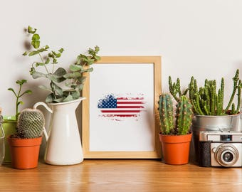 American Flag, Instant Download Printable, America PNG, Map of America with Flag, USA Flag, United States of America, Wall Art & Home Decor