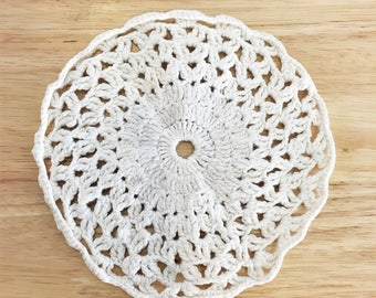 Small White Hand Crochet Doily / Cup Coaster Sized Doily / Vintage White Crochet Craft / Wedding Doily / Easter Doily / Antique Crochet Item
