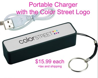 Portable Power Bank with the Color Street Logo