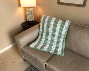 Green & White Herringbone Pattern Afghan