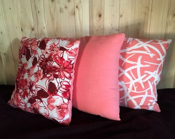 Be Happy Be Pink Cushions / Pillows, set of 3