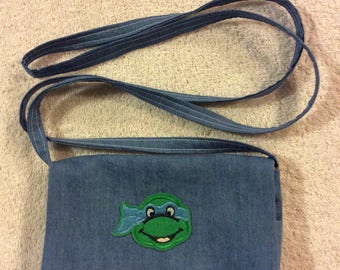 Leonardo Teenage Mutant Ninja Turtle Denim Over the Shoulder Purse