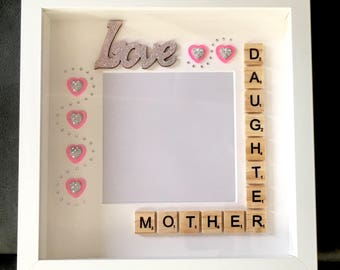 Hand Decorated Mother And Daughter Box Photo Frame - Mothers Day - Birthday