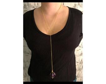 Purple fluorite octahedron necklace