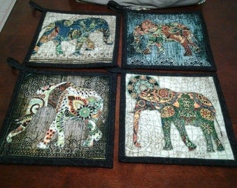 Large 9x9 quilted potholders set of 4