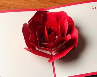Rose 3D Pop Up Card Valentine's Day Cards,Mother's day card,Wedding card,Valentine's gift