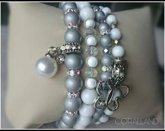 Valentine's Day Gift,Beads Bracelets,bracelets for Women,Charms bracelets,handmade,elastic bracelets,silver,white,8mm,6mm,Glass beads,