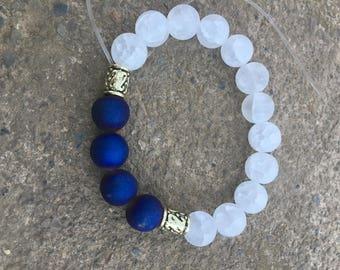 Dark blue and white homemade bracelet