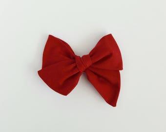 Ruby // Dark Red Handmade Alice Bow