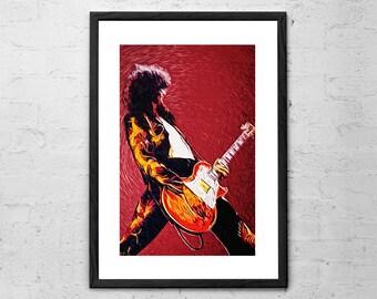 Jimmy Page - Led Zeppelin - Illustration - Led Zeppelin Poster - Guitarist - Rock Poster - Rock Music - Rock and Roll - Led Zeppelin Print