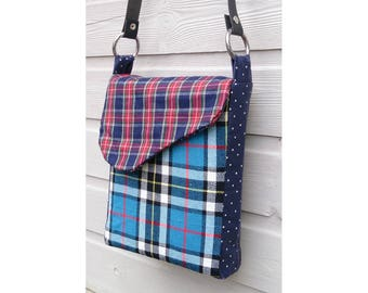 Punkadot Tartan & polka dot handmade messenger shgoulder bag