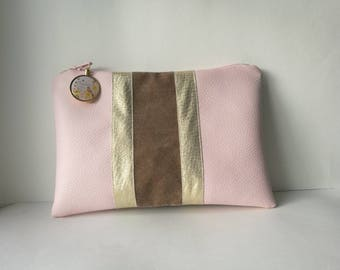 Pink and gold leatherette with charm Kit