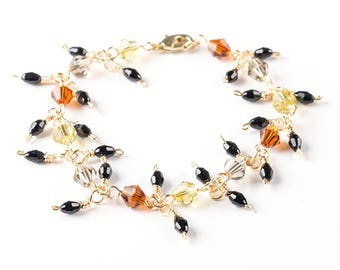 Orange Yellow Silver and Black Colored Diamond shapes Glass Beaded Bracelets Jewelry Wire Wrapped With Gold Wire Handmade