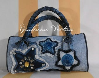 Handmade Denim bag completely hand-embroidered with sequins and crystals