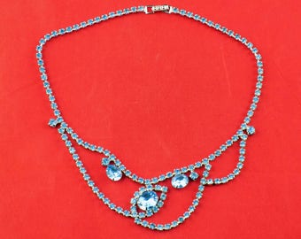 La-Rel Necklace Dazzling Blue Rhinestones Silver Tone Bib Style Choker Ideal for Prom or Pagent