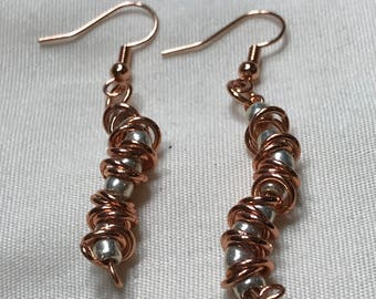 Z0015 Silver Seed Beed and Copper Accent Pierced Earrings