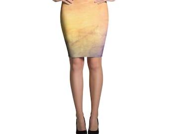 Colorful Pencil Skirt, Abstract Skirt, Sunset Skirt, Galaxy Skirt, Cosmic Skirt, Nebula Skirt, Modern Skirt, Knee Length Skirt, Pencil Skirt