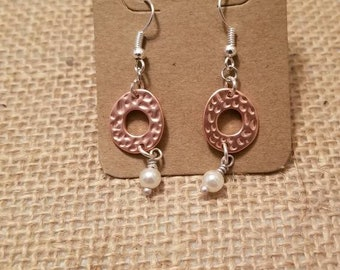 Rose gold and silver hammered metal earrings