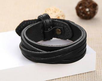 Leather Belt BraceletVintage black bracelet
