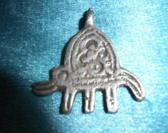 """Moroccan Jewelry, old Berber silver small hamsa pendant, Chifchaoua, 1 3/8"""""""