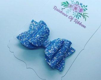 Sky Blue Glitter Beauty Bow
