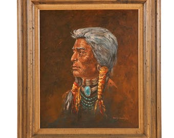Tom J. Dooley Original Painting - Oil on Canvas Portrait of Native American Man