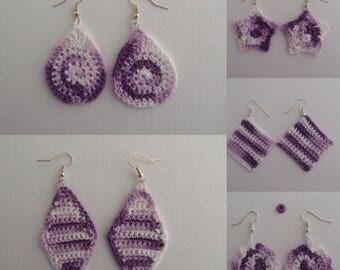 Love purple crochet earrings (free shipping in US)