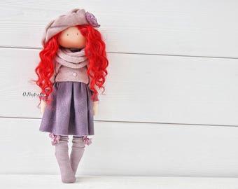Textile doll. Doll. Tilda doll. Interior doll. Fabric doll. Collection doll. Decor doll. Purple. Red doll. Art doll by Olesya Nestratova