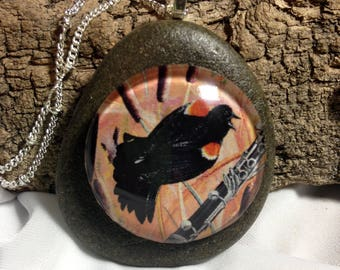 Red-winged Blackbird and Montana River Rock Necklace / bird necklace, animal necklace, natural, hand made by Montana Artist