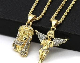 """New Mens 14k Gold Plated High Fashion 2 pcs Jesus & Angel 2mm 30"""" And 24"""" Rope Chain"""