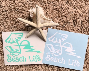 Beach life decal/Car/sun/chair/parasol/summer
