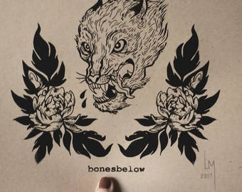 Wolf and Flowers Print