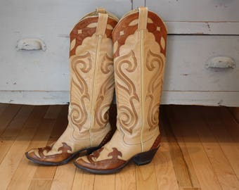 Vintage Larry Mahan Tan Brown Cowgirl Boots, Womens Size 6-6.5