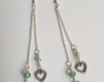 long chain earrings, with beads and heart charm