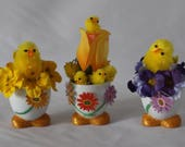 Kitchen or Dining Easter Decor Handcraft Decorated Set of 3 Chicken Egg Shells