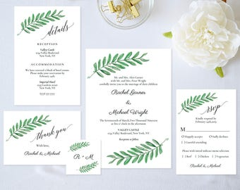Wedding Invitation Template,Wedding Invitation Set,Greenery Wedding Invitation Printable,Greenery Wedding Invitation,Pdf Instant Download
