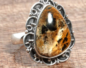 Natural Pilbara Jasper Gemstone Unique 925 Sterling Silver Ring US Ring Size 8