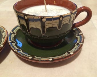 Vintage cup and saucer candle