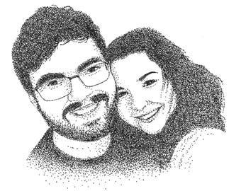 Customized Couples Pointillism Portrait