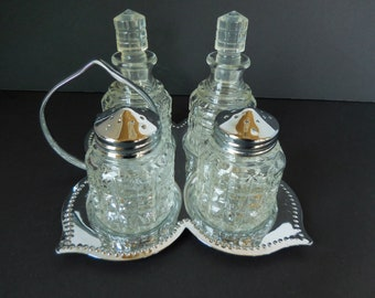 Vintage Cruet Set/Salt Pepper/Oil Vinegar with Chrome Tray