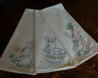 Vintage Handmade Embroidered Bunny Rabbit Dish Towels/Set of Three